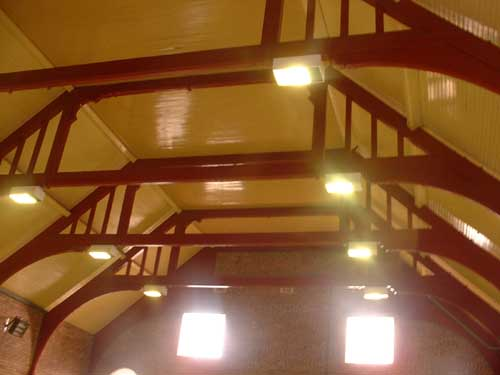 School gym interior - roof beams